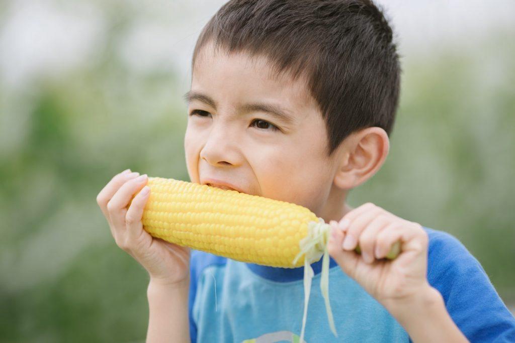 boy eating fruit corn