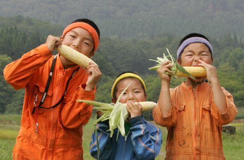 フルーツコーン ゴールドラッシュを食べる少年たち boys eating  Fruit corn Gold rush